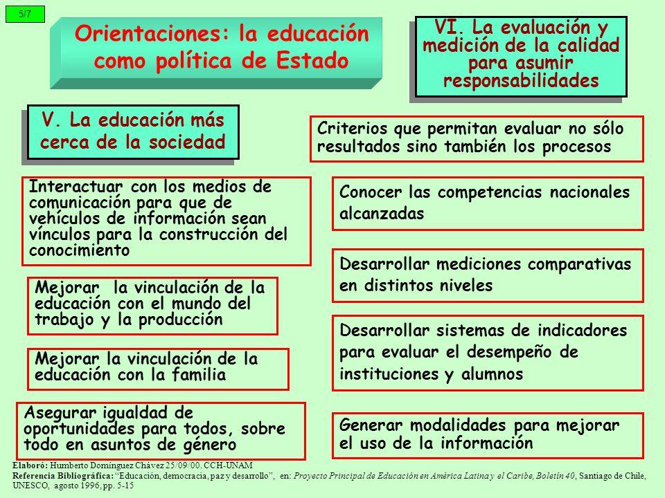 5/7 Orientaciones: la educación como política de Estado V. La educación más cerca de la sociedad VI. La evaluación y medición de la calidad para asumi