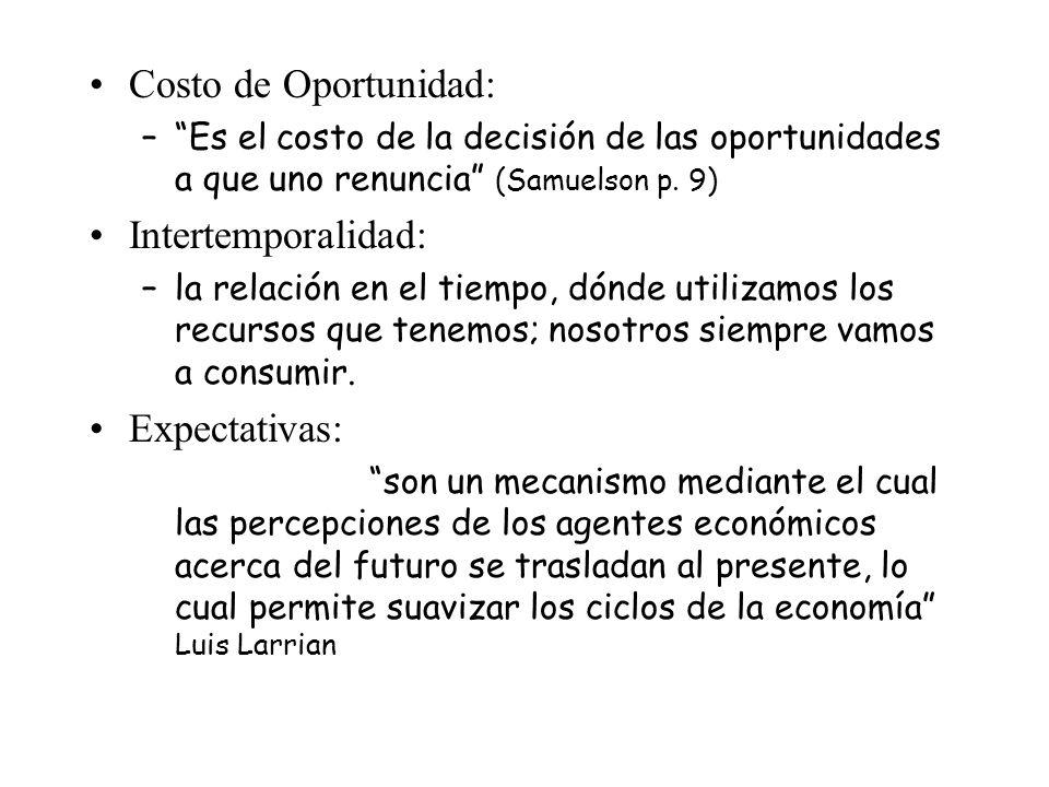 Costo de Oportunidad: –Es el costo de la decisión de las oportunidades a que uno renuncia (Samuelson p. 9) Intertemporalidad: –la relación en el tiemp