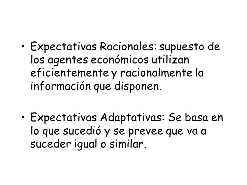 Expectativas Racionales: supuesto de los agentes económicos utilizan eficientemente y racionalmente la información que disponen. Expectativas Adaptati