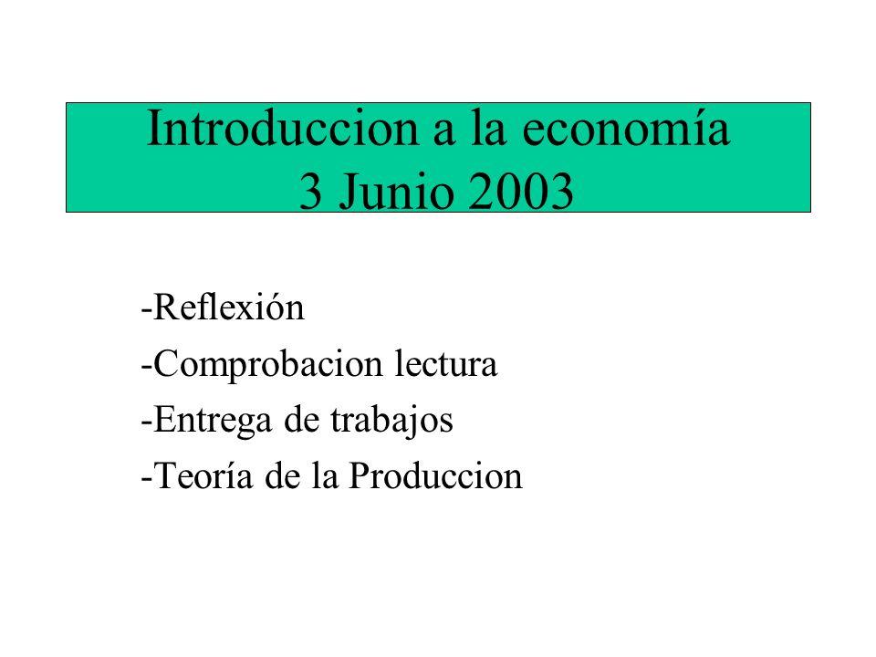 Introduccion a la economía 3 Junio 2003 -Reflexión -Comprobacion lectura -Entrega de trabajos -Teoría de la Produccion