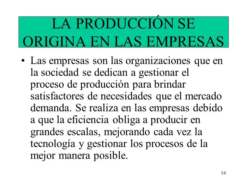 16 LA PRODUCCIÓN SE ORIGINA EN LAS EMPRESAS Las empresas son las organizaciones que en la sociedad se dedican a gestionar el proceso de producción par