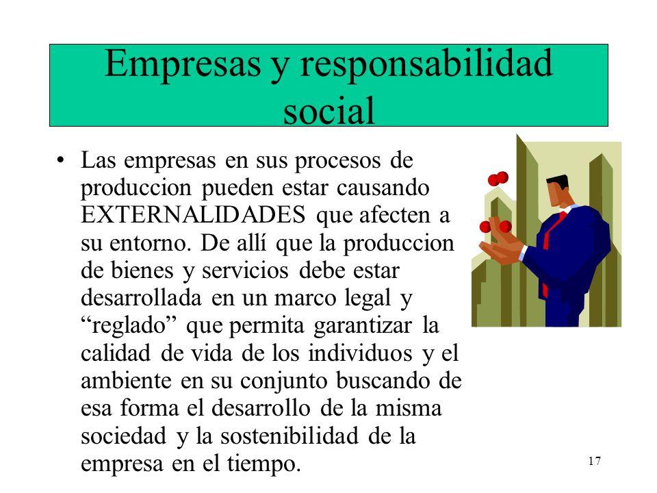 17 Empresas y responsabilidad social Las empresas en sus procesos de produccion pueden estar causando EXTERNALIDADES que afecten a su entorno. De allí
