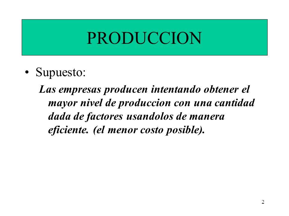 2 PRODUCCION Supuesto: Las empresas producen intentando obtener el mayor nivel de produccion con una cantidad dada de factores usandolos de manera efi