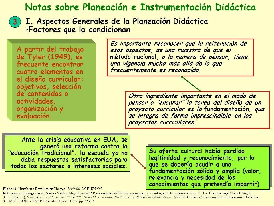 3 Notas sobre Planeación e Instrumentación Didáctica I. Aspectos Generales de la Planeación Didáctica Factores que la condicionan Elaboró: Humberto Do