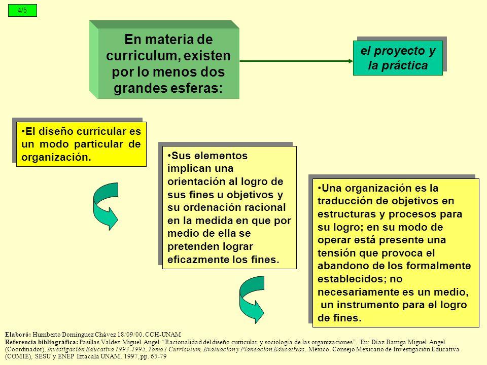 En materia de curriculum, existen por lo menos dos grandes esferas: Una organización es la traducción de objetivos en estructuras y procesos para su l