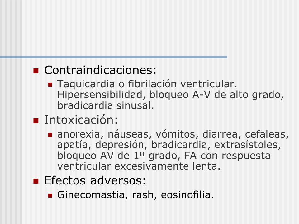 Contraindicaciones: Taquicardia o fibrilación ventricular. Hipersensibilidad, bloqueo A-V de alto grado, bradicardia sinusal. Intoxicación: anorexia,