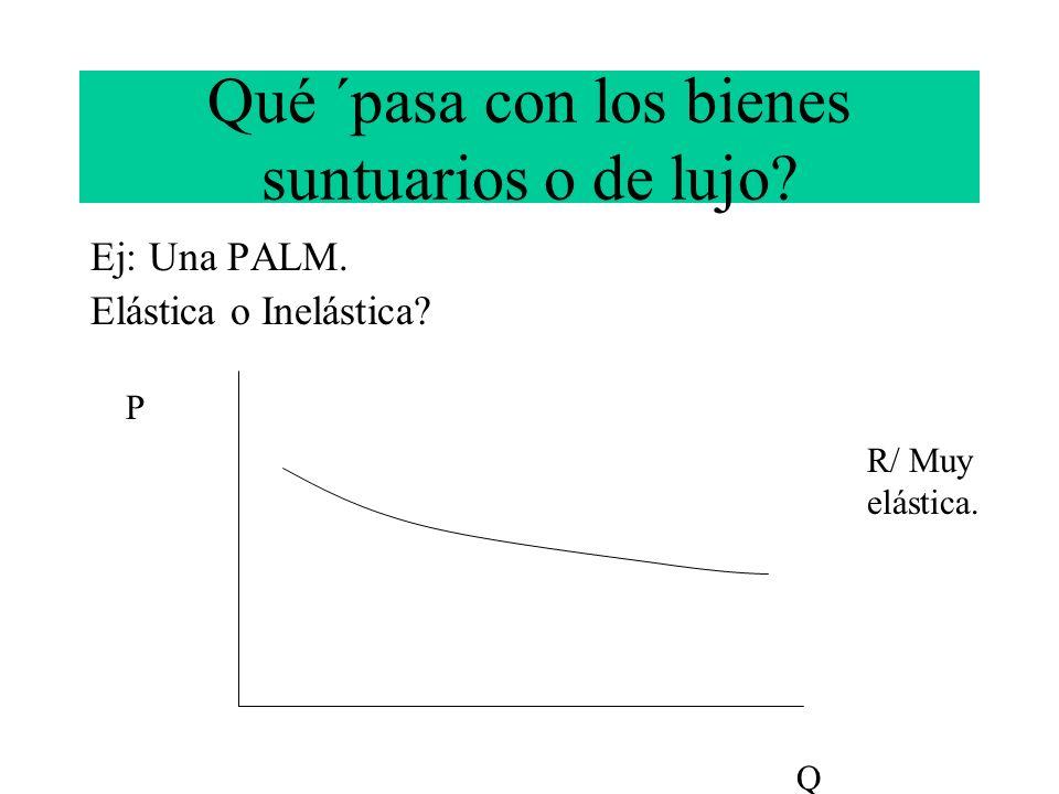 Qué ´pasa con los bienes suntuarios o de lujo? Ej: Una PALM. Elástica o Inelástica? P Q R/ Muy elástica.