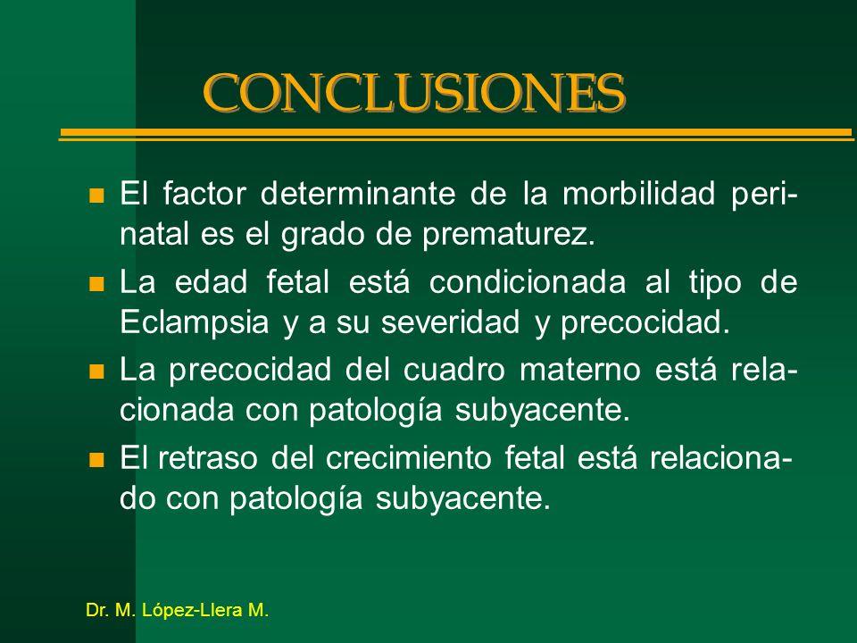CONCLUSIONES n El factor determinante de la morbilidad peri- natal es el grado de prematurez. n La edad fetal está condicionada al tipo de Eclampsia y