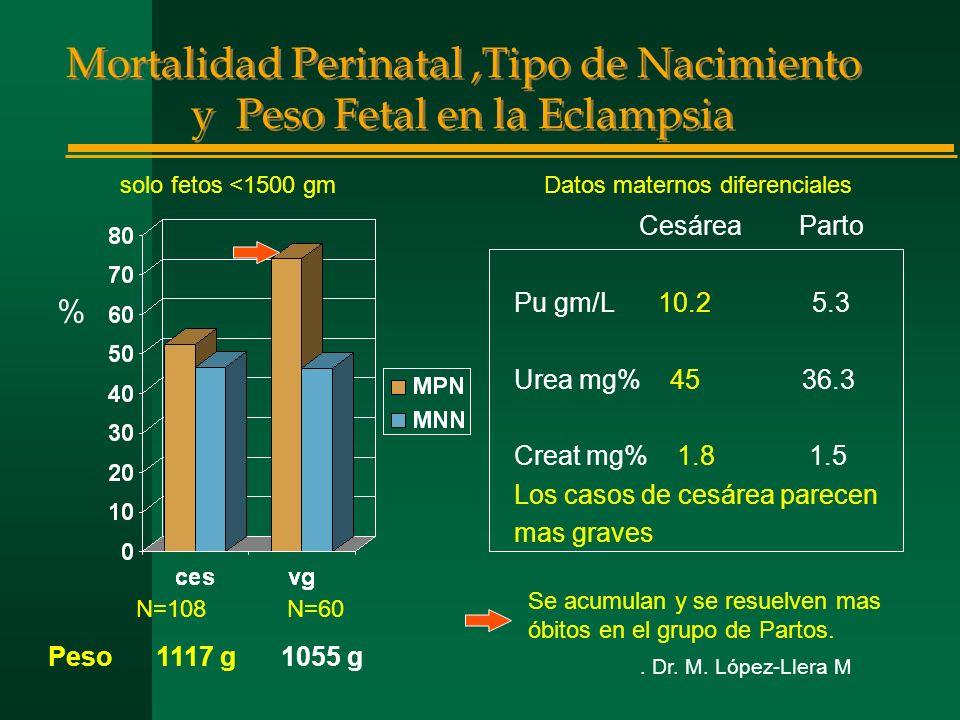 Mortalidad Perinatal,Tipo de Nacimiento y Peso Fetal en la Eclampsia Cesárea Parto Pu gm/L 10.2 5.3 Urea mg% 45 36.3 Creat mg% 1.8 1.5 Los casos de cesárea parecen mas graves solo fetos <1500 gm N=108 N=60 % Se acumulan y se resuelven mas óbitos en el grupo de Partos.