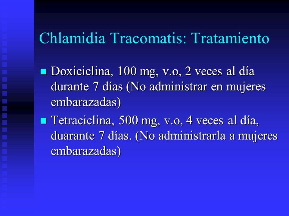 Chlamidia Tracomatis: Tratamiento Doxiciclina, 100 mg, v.o, 2 veces al día durante 7 días (No administrar en mujeres embarazadas) Doxiciclina, 100 mg,
