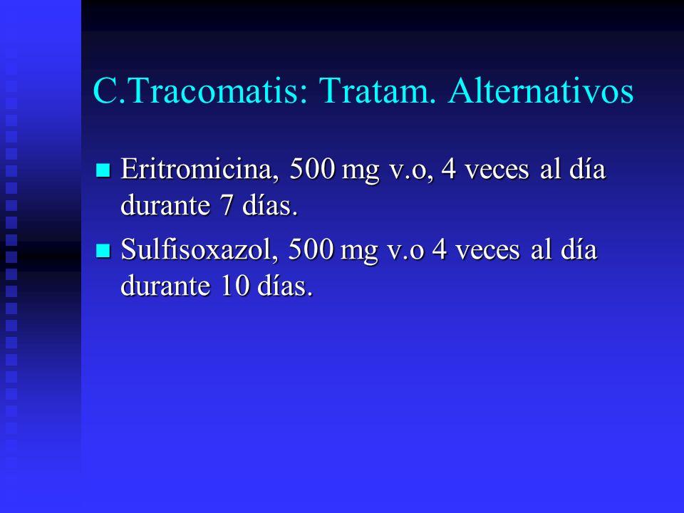 C.Tracomatis: Tratam. Alternativos Eritromicina, 500 mg v.o, 4 veces al día durante 7 días. Eritromicina, 500 mg v.o, 4 veces al día durante 7 días. S