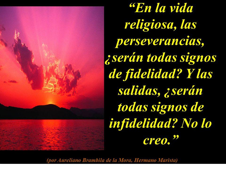 En la vida religiosa, las perseverancias, ¿serán todas signos de fidelidad.