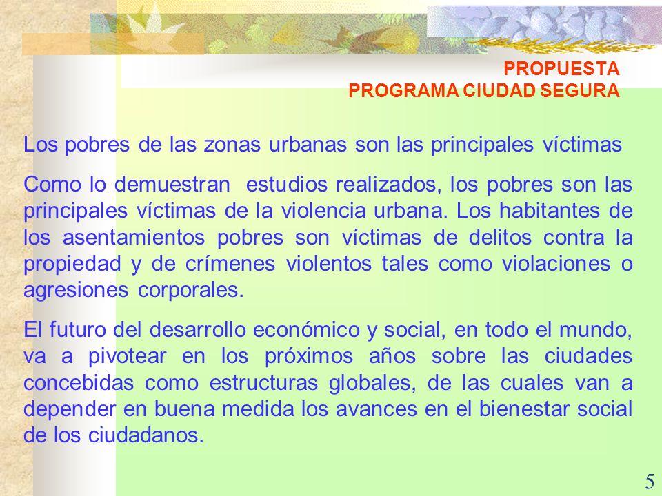 5 PROPUESTA PROGRAMA CIUDAD SEGURA Los pobres de las zonas urbanas son las principales víctimas Como lo demuestran estudios realizados, los pobres son