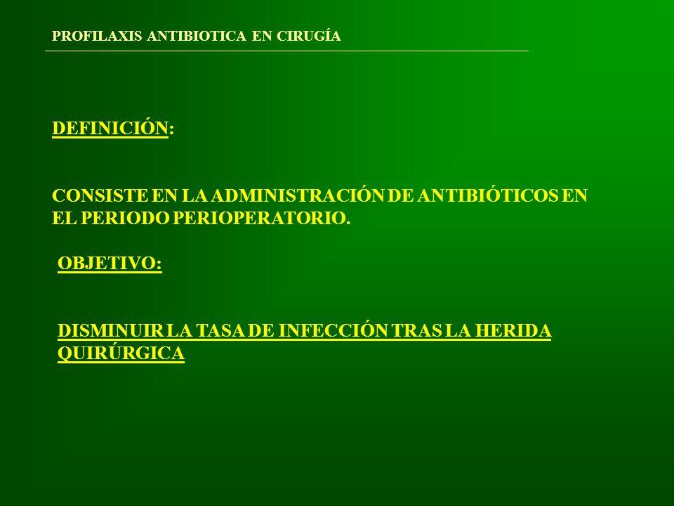 PROFILAXIS ANTIBIOTICA EN CIRUGÍA PRINCIPIOS BÁSICOS DE LA PROFILAXIS QUIRÚRGICA TIEMPO ADMINISTRACIÓN ANTIBIÓTICOS DURACIÓN PROFILAXIS VIA DE ADMINISTRACIÓN ANTIBIÓTICOS A UTILIZAR INTERVENCIONES QUE SE BENEFICIAN DE LA PROFILAXIS