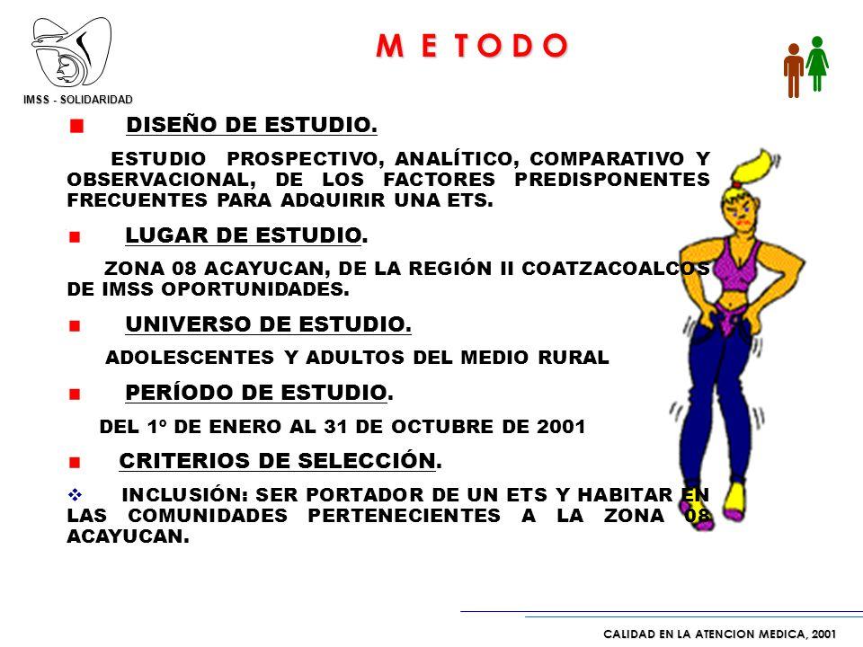 IMSS - SOLIDARIDAD CALIDAD EN LA ATENCION MEDICA, 2001 * Fuente: Tablero de Control de Acercamiento de Servicios DISEÑO DE ESTUDIO.