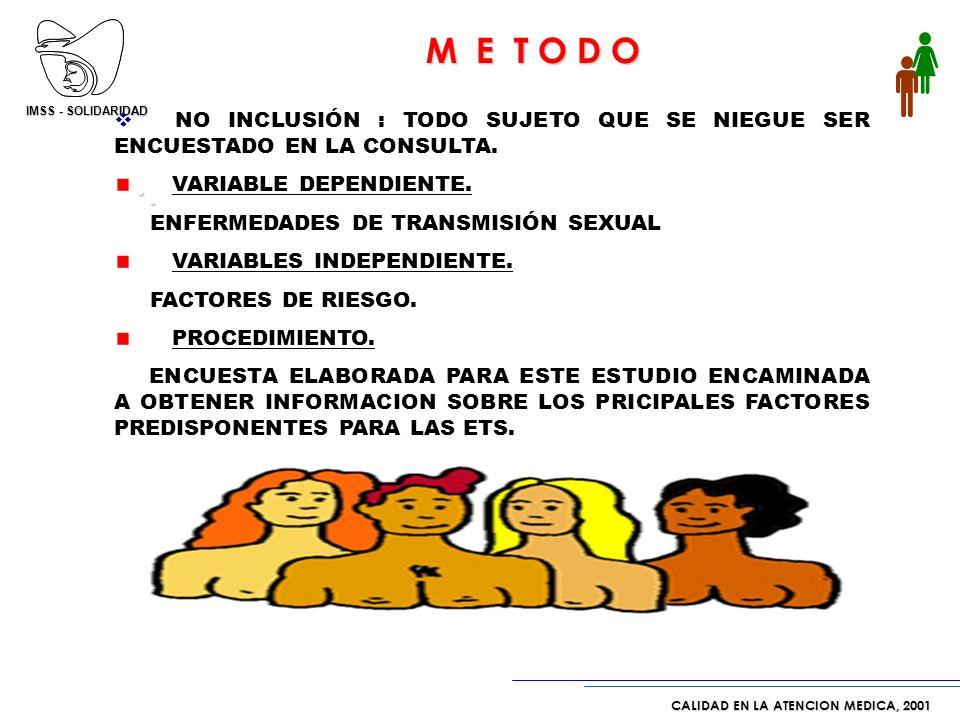 IMSS - SOLIDARIDAD CALIDAD EN LA ATENCION MEDICA, 2001 * Fuente: Tablero de Control de Acercamiento de Servicios DISEÑO DE ESTUDIO. ESTUDIO PROSPECTIV