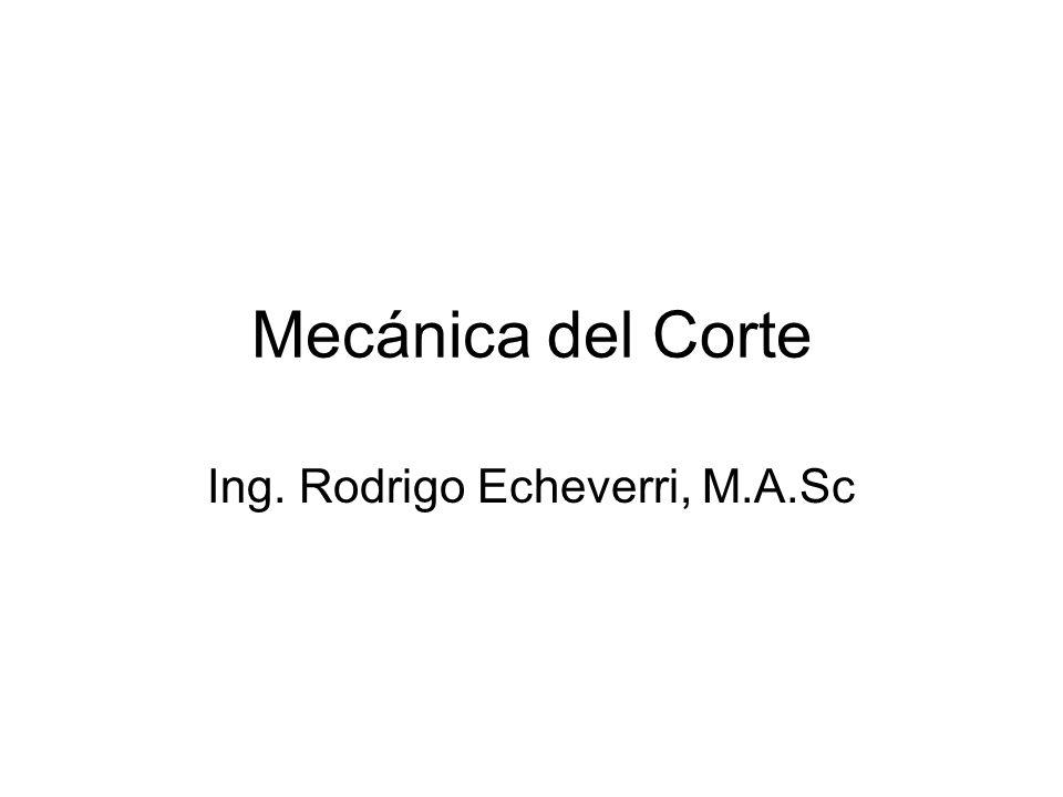 Mecánica del Corte Ing. Rodrigo Echeverri, M.A.Sc