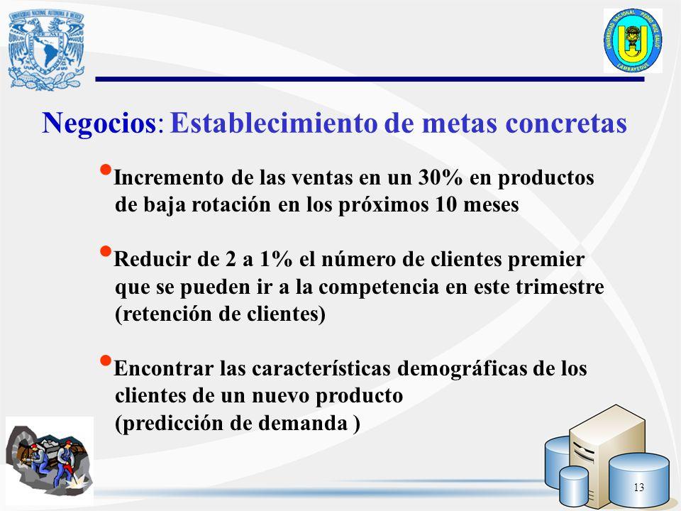 13 Negocios: Establecimiento de metas concretas Incremento de las ventas en un 30% en productos de baja rotación en los próximos 10 meses Reducir de 2