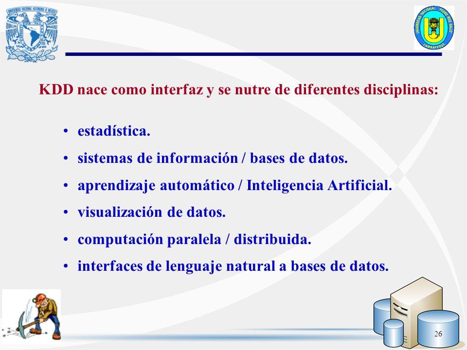 26 KDD nace como interfaz y se nutre de diferentes disciplinas: estadística. sistemas de información / bases de datos. aprendizaje automático / Inteli