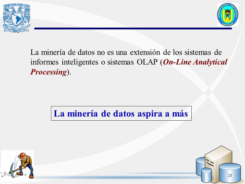 28 La minería de datos no es una extensión de los sistemas de informes inteligentes o sistemas OLAP (On-Line Analytical Processing). La minería de dat