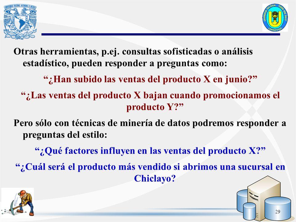 29 Otras herramientas, p.ej. consultas sofisticadas o análisis estadístico, pueden responder a preguntas como: ¿Han subido las ventas del producto X e