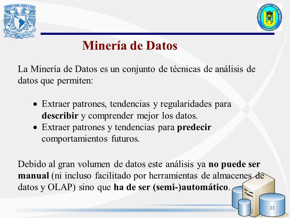 33 La Minería de Datos es un conjunto de técnicas de análisis de datos que permiten: Extraer patrones, tendencias y regularidades para describir y com
