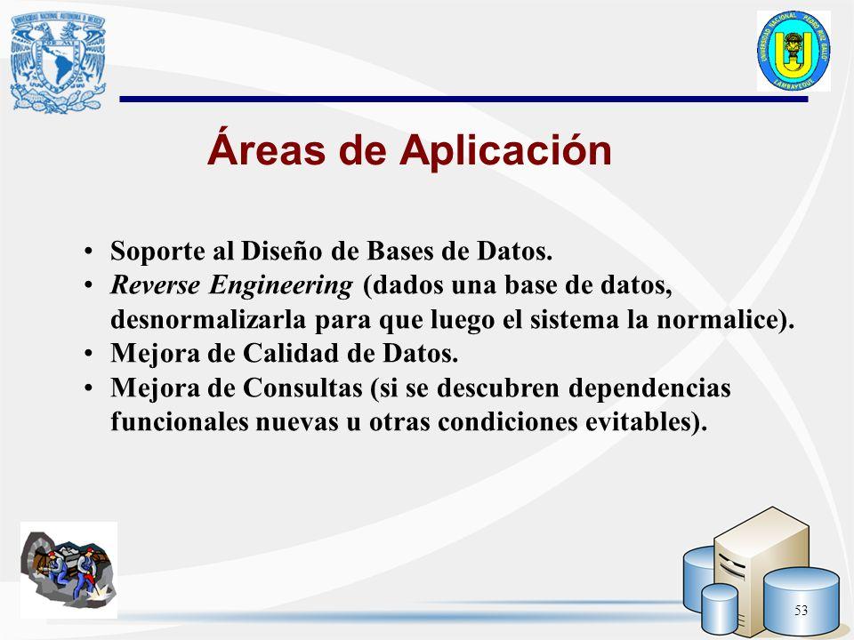 53 Soporte al Diseño de Bases de Datos. Reverse Engineering (dados una base de datos, desnormalizarla para que luego el sistema la normalice). Mejora