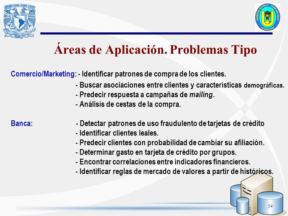 54 Comercio/Marketing: - Identificar patrones de compra de los clientes. - Buscar asociaciones entre clientes y características demográficas. - Predec