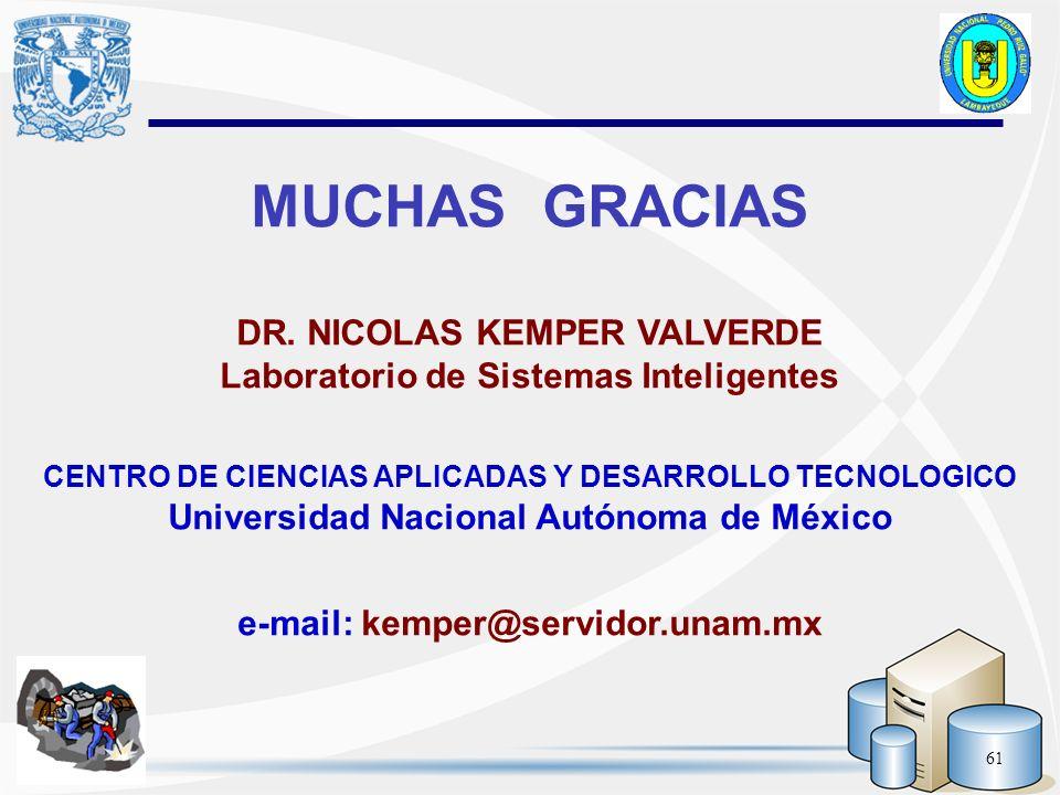 61 MUCHAS GRACIAS DR. NICOLAS KEMPER VALVERDE Laboratorio de Sistemas Inteligentes CENTRO DE CIENCIAS APLICADAS Y DESARROLLO TECNOLOGICO Universidad N