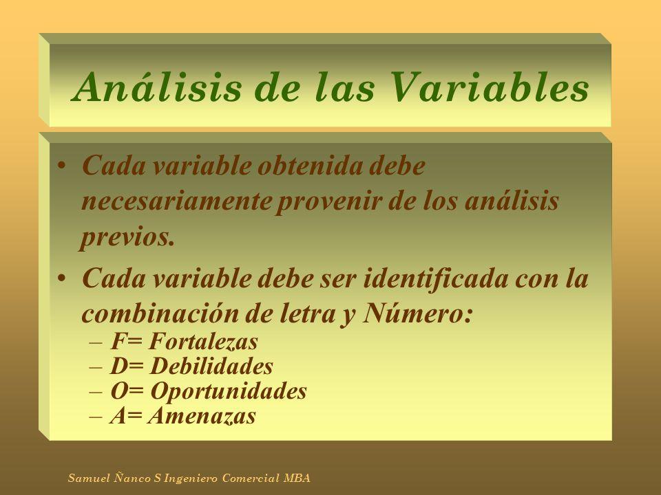 Análisis de las Variables Cada variable obtenida debe necesariamente provenir de los análisis previos. Cada variable debe ser identificada con la comb