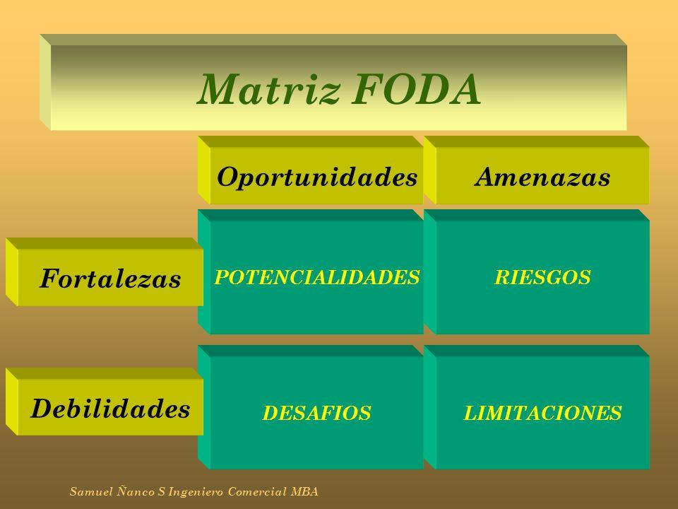 Matriz FODA Samuel Ñanco S Ingeniero Comercial MBA POTENCIALIDADES LIMITACIONES RIESGOS DESAFIOS OportunidadesAmenazas Fortalezas Debilidades
