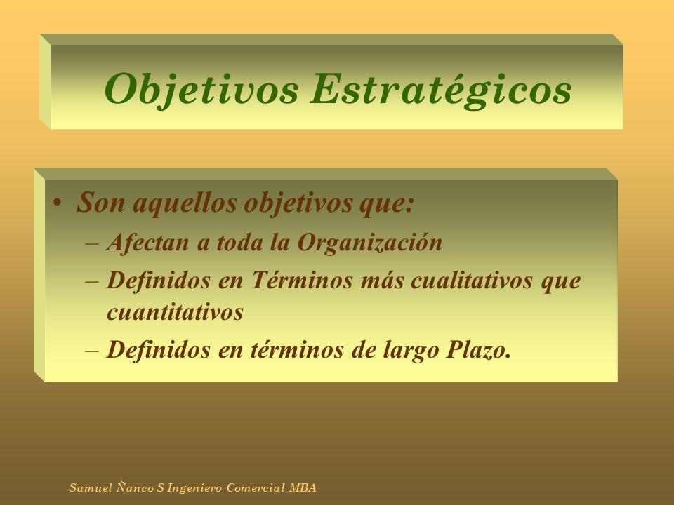Objetivos Estratégicos Son aquellos objetivos que: –Afectan a toda la Organización –Definidos en Términos más cualitativos que cuantitativos –Definido