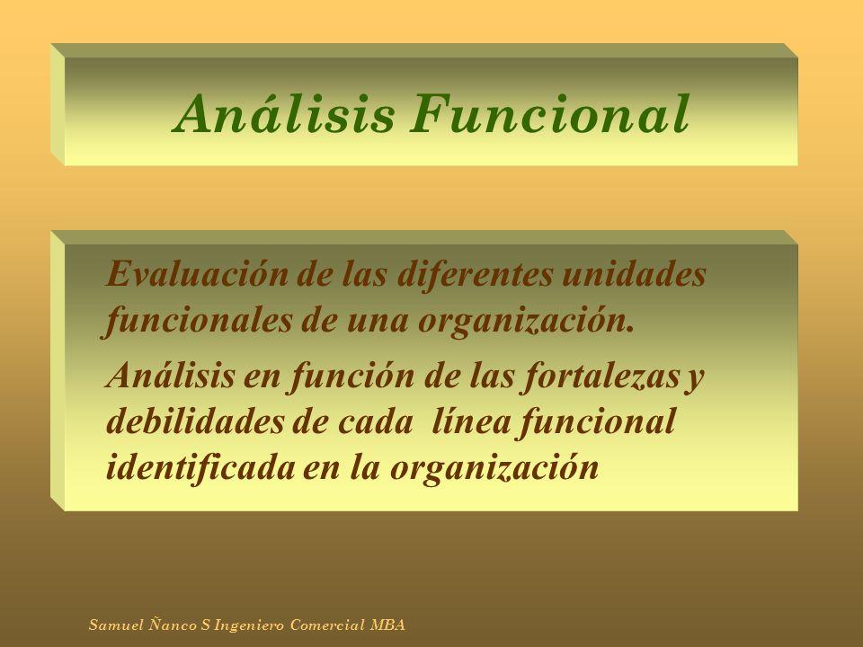 Análisis Funcional Evaluación de las diferentes unidades funcionales de una organización. Análisis en función de las fortalezas y debilidades de cada
