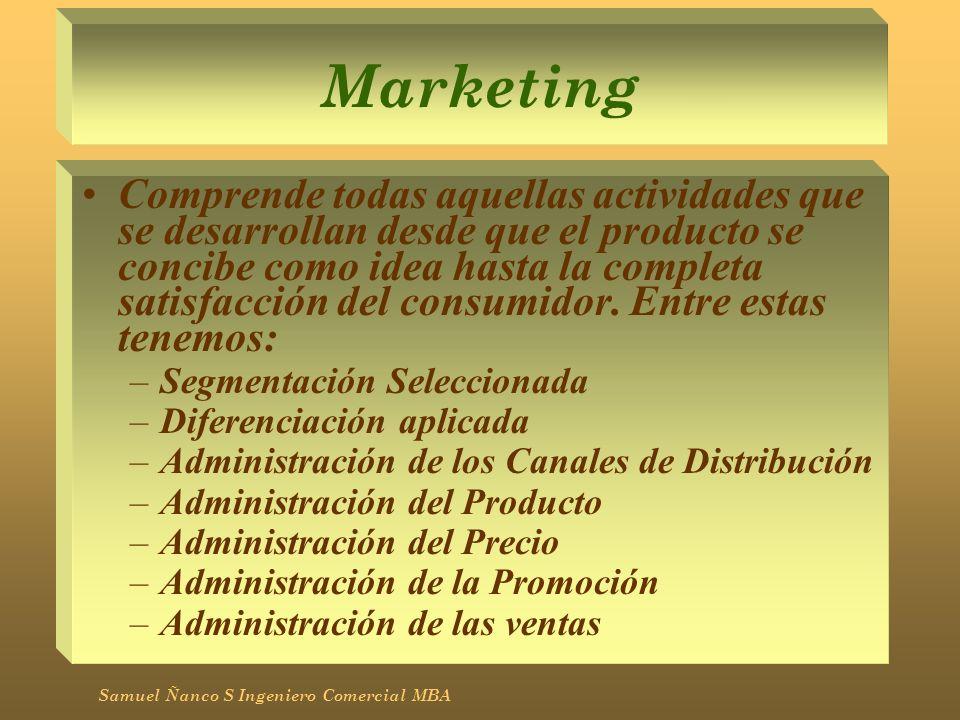 Marketing Comprende todas aquellas actividades que se desarrollan desde que el producto se concibe como idea hasta la completa satisfacción del consum