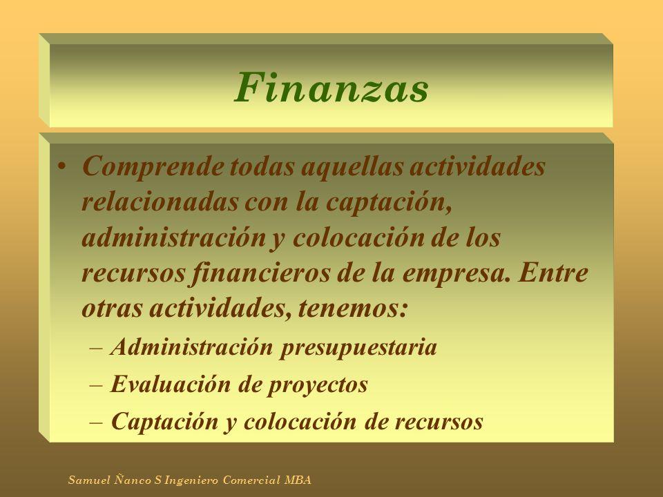 Finanzas Comprende todas aquellas actividades relacionadas con la captación, administración y colocación de los recursos financieros de la empresa. En