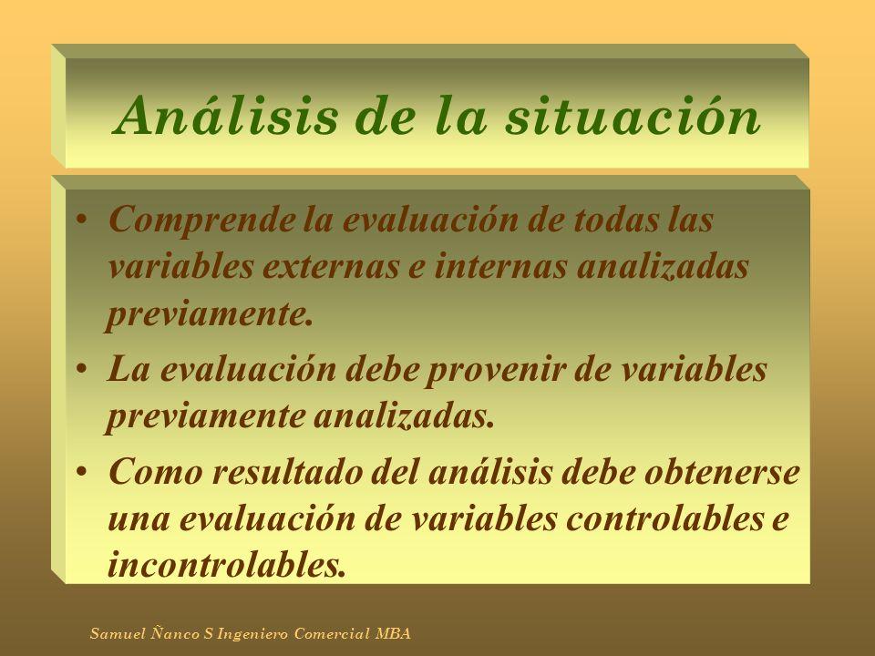 Análisis de la situación Comprende la evaluación de todas las variables externas e internas analizadas previamente. La evaluación debe provenir de var