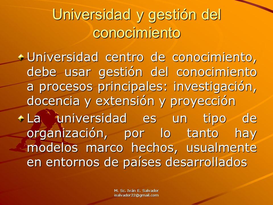 M. Sc. Iván E. Salvador isalvador22@gmail.com Universidad y gestión del conocimiento Universidad centro de conocimiento, debe usar gestión del conocim