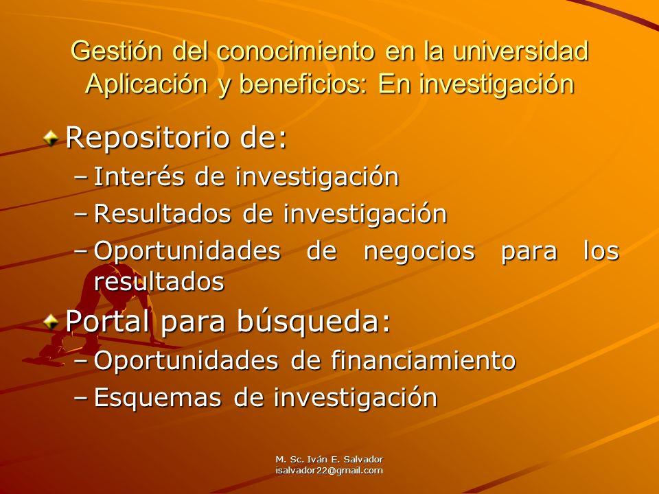 M. Sc. Iván E. Salvador isalvador22@gmail.com Gestión del conocimiento en la universidad Aplicación y beneficios: En investigación Repositorio de: –In