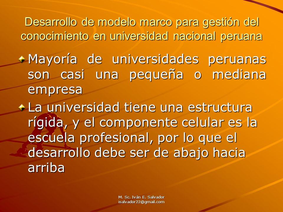 M. Sc. Iván E. Salvador isalvador22@gmail.com Desarrollo de modelo marco para gestión del conocimiento en universidad nacional peruana Mayoría de univ