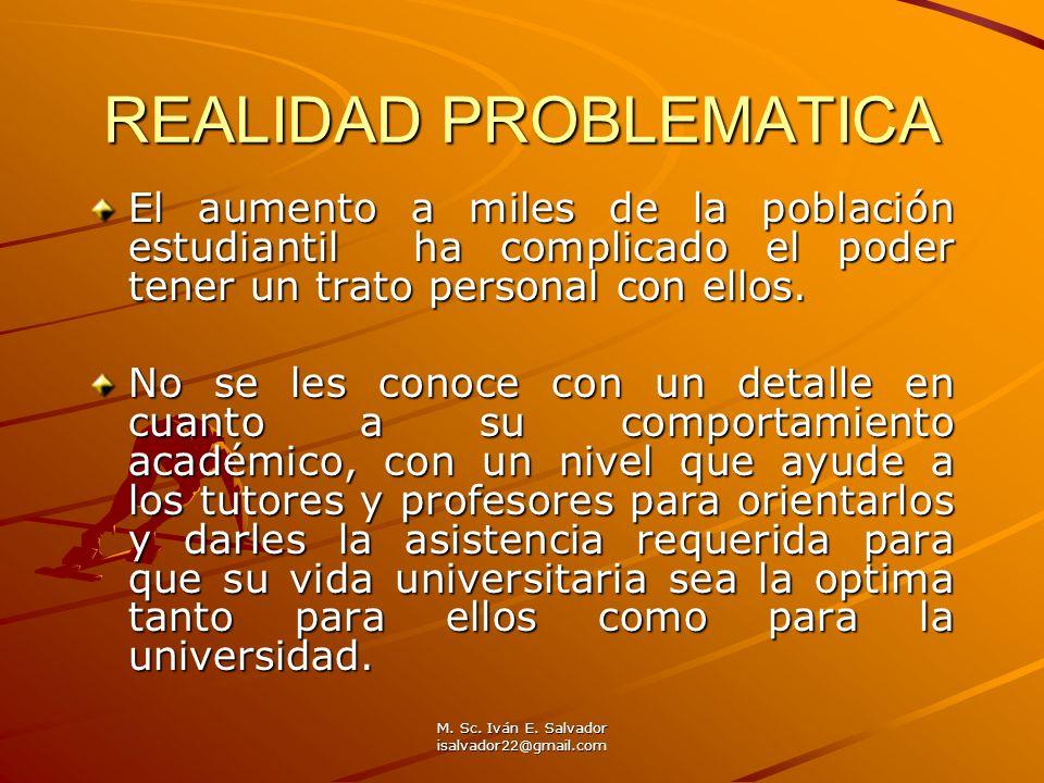 M. Sc. Iván E. Salvador isalvador22@gmail.com REALIDAD PROBLEMATICA El aumento a miles de la población estudiantil ha complicado el poder tener un tra