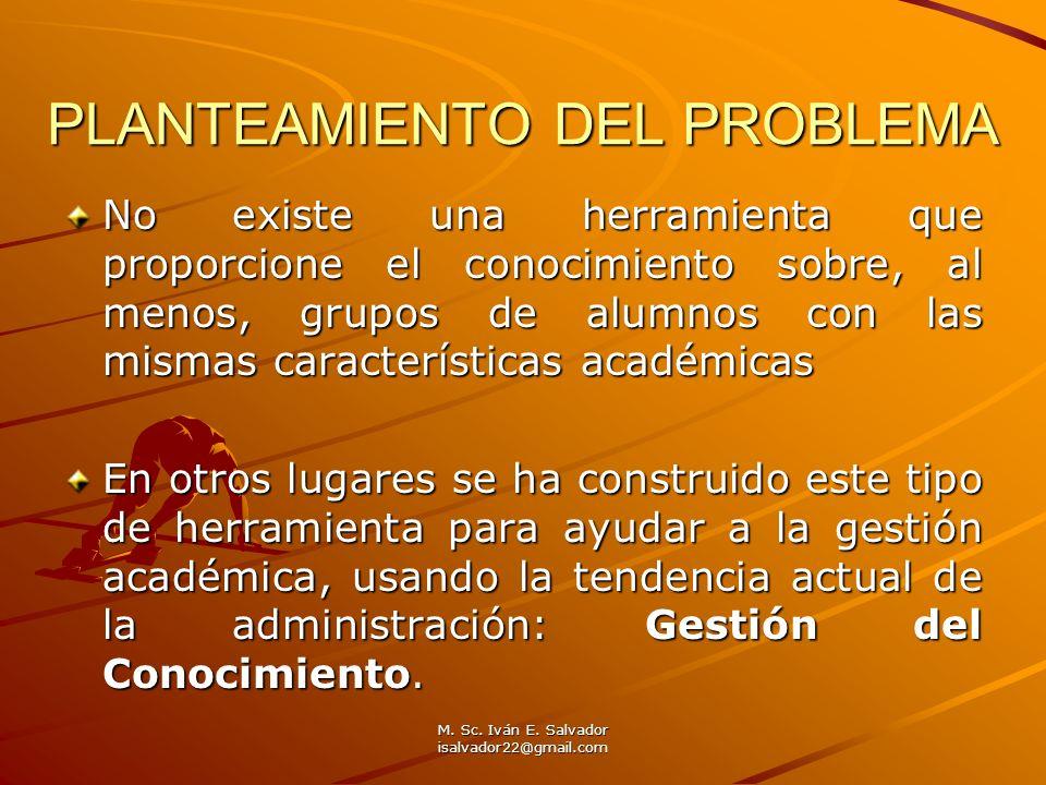 M. Sc. Iván E. Salvador isalvador22@gmail.com PLANTEAMIENTO DEL PROBLEMA No existe una herramienta que proporcione el conocimiento sobre, al menos, gr