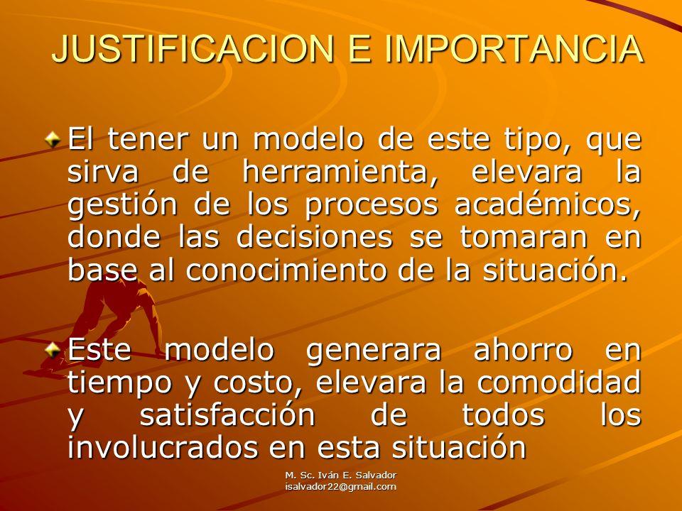 M. Sc. Iván E. Salvador isalvador22@gmail.com JUSTIFICACION E IMPORTANCIA El tener un modelo de este tipo, que sirva de herramienta, elevara la gestió