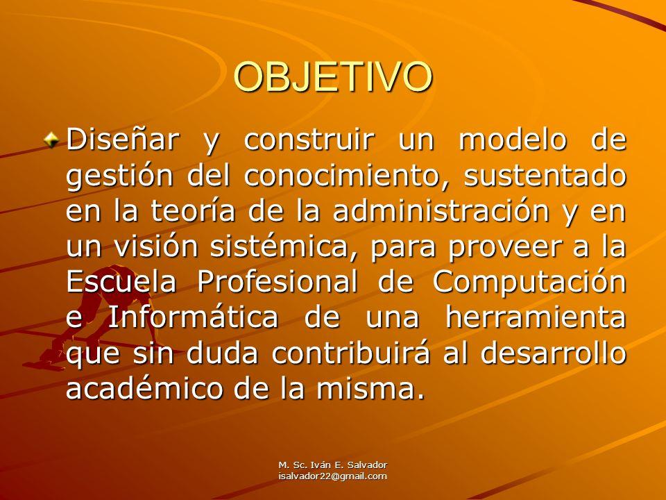 M. Sc. Iván E. Salvador isalvador22@gmail.com OBJETIVO Diseñar y construir un modelo de gestión del conocimiento, sustentado en la teoría de la admini