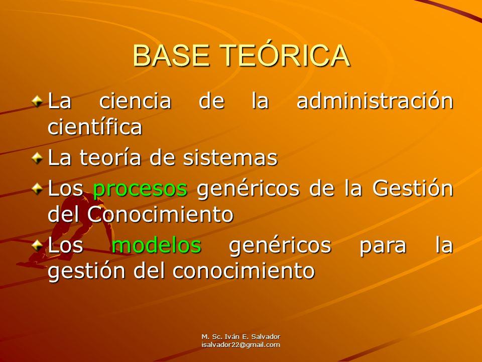 M. Sc. Iván E. Salvador isalvador22@gmail.com BASE TEÓRICA La ciencia de la administración científica La teoría de sistemas Los procesos genéricos de