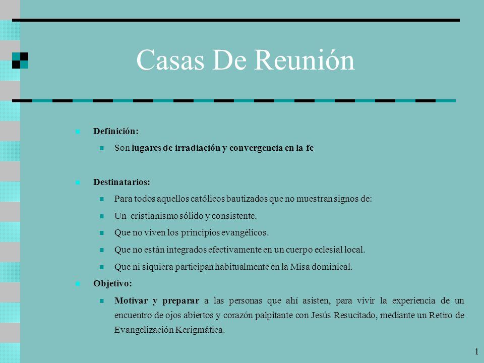 11 Esquema Casas De Reunión VISITEO DURANTE LA MISIÓN EVANGELIZADORA INTENSIVA VISITEO DURANTE LA MISIÓN EVANGELIZADORA INTENSIVA CASAS DE REUNIÓN MISIÓN CASAS DE REUNIÓN MISIÓN REUNIONES GENERALES CASAS DE REUNIÓN POST- MISIÓN CASAS DE REUNIÓN POST- MISIÓN RETIRO DE EVANGELIZACIÓN CATEQUESIS PROGRAMADA, PROGRESIVA, DISCIPULADA, EVALUADA CATEQUESIS PROGRAMADA, PROGRESIVA, DISCIPULADA, EVALUADA EXHORTACIONES PARA PERMANECER Y PERSEVERAR FORMACIÓN DE PEQUEÑAS COMUNIDADES EXHORTACIONES PARA PERMANECER Y PERSEVERAR FORMACIÓN DE PEQUEÑAS COMUNIDADES COMPROMISO APOSTÓLICO LA IGLESIA EN PERMANENTE ESTADO DE MISIÓN ( VISITEO PERMANENTE ) COMPROMISO APOSTÓLICO LA IGLESIA EN PERMANENTE ESTADO DE MISIÓN ( VISITEO PERMANENTE ) CASAS DE REUNIÓN PERMANENTES CASAS DE REUNIÓN PERMANENTES