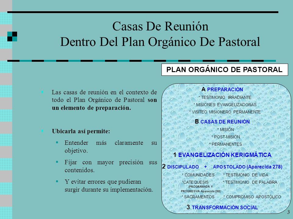 3 Casas De Reunión Dentro Del Plan Orgánico De Pastoral Las casas de reunión en el contexto de todo el Plan Orgánico de Pastoral son un elemento de preparación.