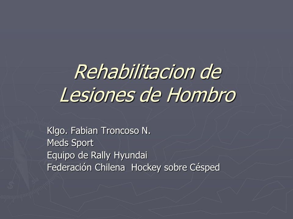 Rehabilitacion de Lesiones de Hombro Klgo. Fabian Troncoso N. Meds Sport Equipo de Rally Hyundai Federación Chilena Hockey sobre Césped