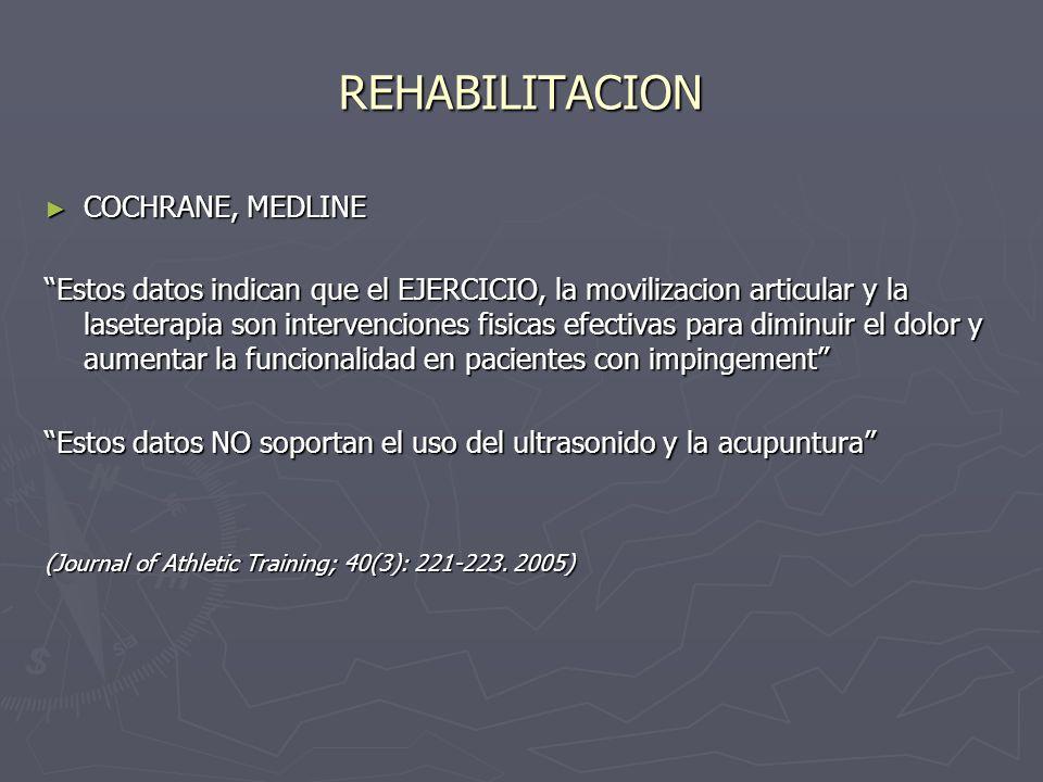 REHABILITACION COCHRANE, MEDLINE COCHRANE, MEDLINE Estos datos indican que el EJERCICIO, la movilizacion articular y la laseterapia son intervenciones