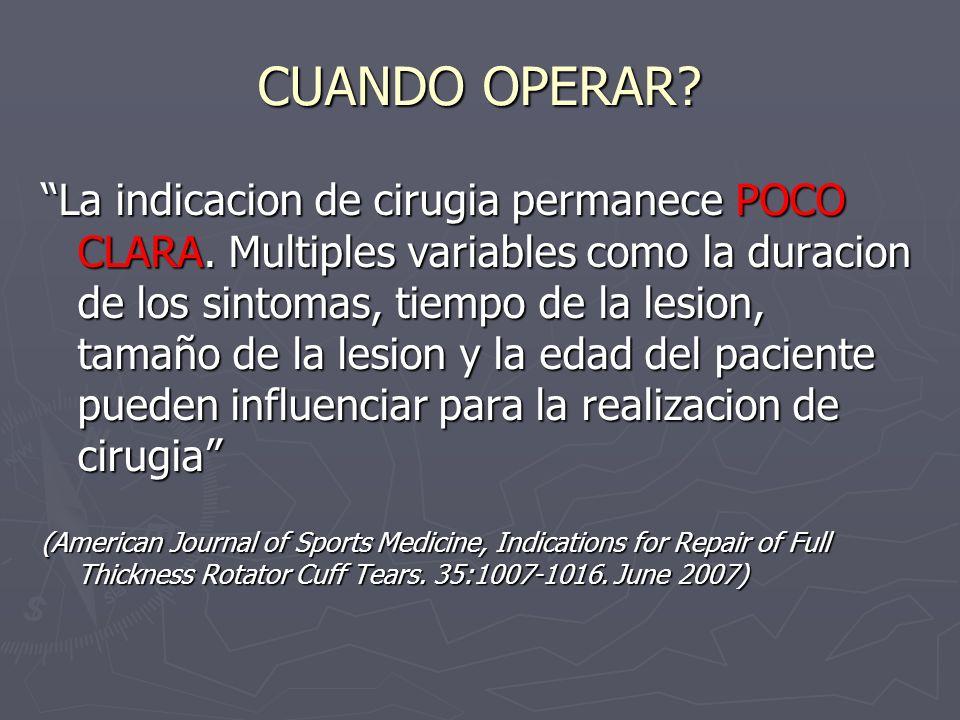 CUANDO OPERAR? La indicacion de cirugia permanece POCO CLARA. Multiples variables como la duracion de los sintomas, tiempo de la lesion, tamaño de la