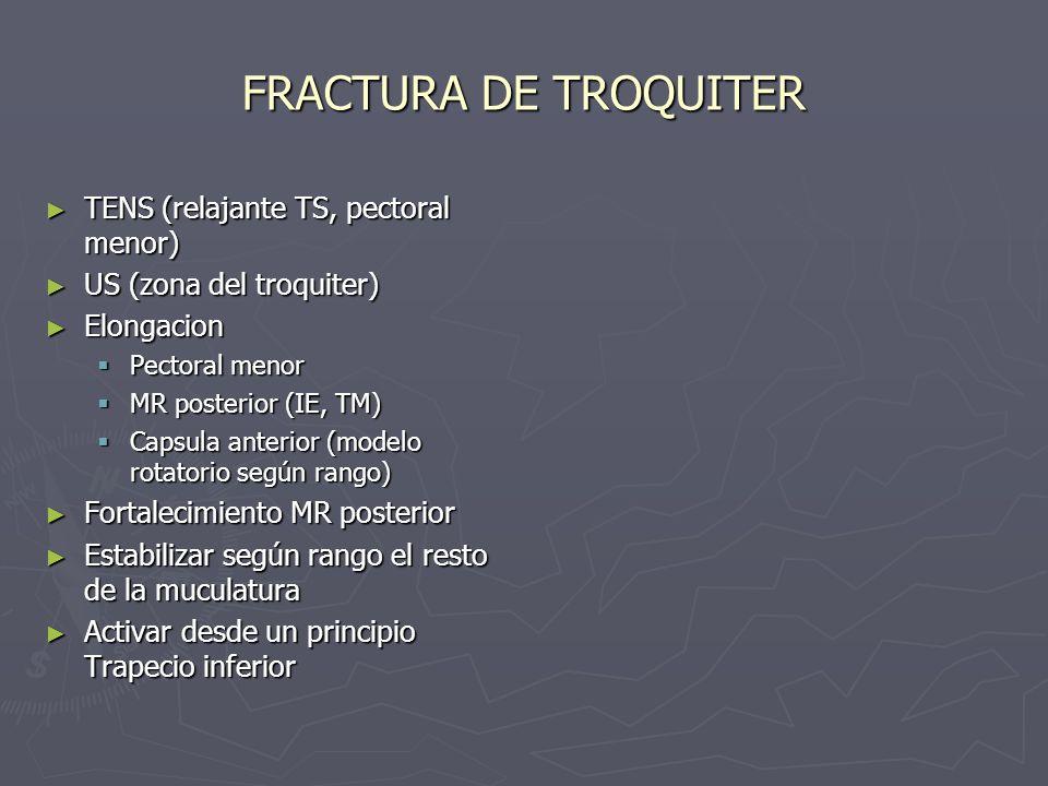 FRACTURA DE TROQUITER TENS (relajante TS, pectoral menor) TENS (relajante TS, pectoral menor) US (zona del troquiter) US (zona del troquiter) Elongaci